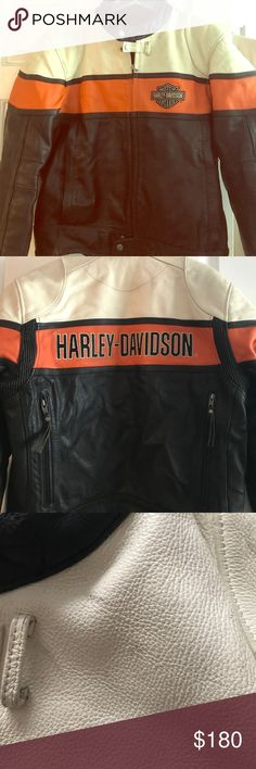 Men's Harley Davidson Leather Jacket Men's Harley Davidson Motorcycle Jacket, Size Large. Gently Used, a few marks indicated in the third picture that is easily cleaned with Leather cleaner or dry cleaning. Absolutely no tears or rips. Harley-Davidson Jackets & Coats Performance Jackets
