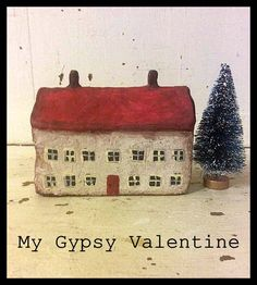 Miniature Cottage House, Little House, Paper Clay House by MyGypsyValentine on Etsy