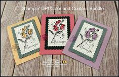 Flower Stamp, Flower Cards, Color Contour, Nature Sketch, Bee Design, Stamping Up Cards, Ink Stamps, Handmade Birthday Cards, Color Card