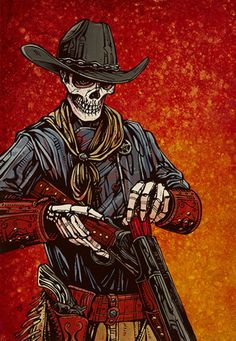Title: Double Barrel Artist: David Lozeau Cowboy skeleton putting ammo into his gun. Made-to-order David Lozeau canvas fine art reproductions on canvas. Dark Beauty, Skeleton Art, Double Barrel, West Art, Sugar Skull Art, Desenho Tattoo, Cowboy Art, Chicano Art, Le Far West