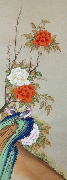 화조괴석도 : 네이버 블로그 Snake Drawing, Asian Art, Drawings, Chinese Flowers, Flower Art, Mural Art, Painting, Art, Korean Painting