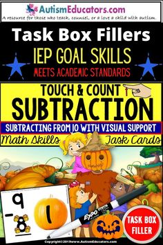 Subtraction single-digit problems from 10 with a festive autumn theme! This count and touch math resource is perfect for collecting data for special education, children with autism and special learning needs, IEP goals, home school, and as a math intervention resource.