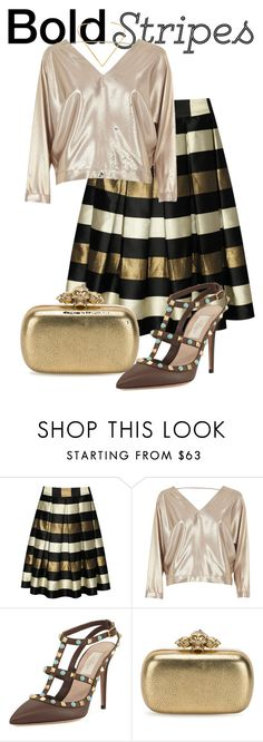 """BOLD stripes + metallic💋❤"" by xmare ❤ liked on Polyvore featuring True Decadence, River Island, Valentino, Alexander McQueen and Jennifer Zeuner"