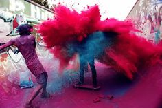 Happy holi wishesh 2020 holi greetings, holi quotes holi images for whatsapp. Festival of colors wish & holi messages . Make a splash this Holi . Street Art Utopia, Color Wars, War Paint, Paint Fight, Banksy, Photomontage, Looks Cool, Belle Photo, Namaste