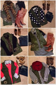 Love the versatility of this army green vest. Especially love the top left outfit (black and white striped shirt, army green vest, and leopard scarf! Cute Fall Outfits, Fall Winter Outfits, Autumn Winter Fashion, Winter Style, Vest Outfits, Casual Outfits, The Cardigans, Fuchsia, Swagg