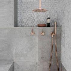 Gold Bathroom Faucet, Bathroom Renos, Bathroom Inspo, Bathroom Inspiration, Small Bathroom, Master Bathroom, Bathroom Ideas, Concrete Bathroom, Bathroom Vanities