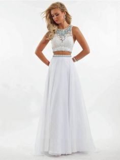 A-Line/Princess Scoop Sleeveless Beading Floor-Length Chiffon Dresses - Two Piece Prom Dresses - Prom Dresses