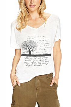 Tree And Letters Print White V-neck Short Sleeve T-shirt