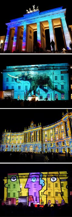 Landmarks illuminated by the Berlin Festival of Lights, Germany
