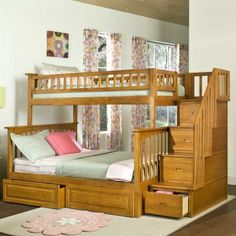 """Columbia Twin over Full Stairway Bunk Bed in Caramel Latte - Bed Size: Twin/Full Finish: Caramel Latte Frame Material: Eco-Friendly Hardwood Solid hardwood motise and tenon construction 26 Steel Reinforcement Points Designed for durability Includes two 14 piece slat kits Accepts under bed storage drawers or trundle bed Guard rails match panel design Brand: Atlantic Frame Approx. Dimensions: H - 69"""", W - 59"""", L - 103"""",  Distance Between Bed Rails - 34"""" www.bunkbeddeals.com"""