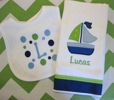 Monogrammed Burp and Bib Gift Set for Baby Boy - Embroidered Personalized - Green and Blue Sailboat