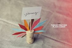Cork-Turkey Place Cards | 35 Cute And Clever Ideas For Place Cards