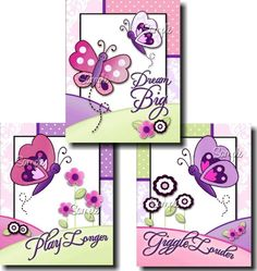 Set of 3 Pretty Purple and Pink Damask Butterfly Girls Bedroom Art Prints Girl Nursery, Girls Bedroom, Kids Door Signs, Bedroom Door Signs, Baby Painting, Pink Damask, Flower Nursery, Dog Paintings, Card Sketches