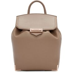 Alexander Wang Beige Leather Prisma Backpack ($1,040) ❤ liked on Polyvore featuring bags, backpacks, alexander wang, brown backpack, genuine leather backpack, leather daypack and drawstring bag
