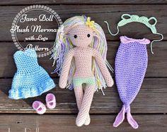 Crochet Mermaid Doll Pattern ~ Jane Doll Plush Mermaid with Legs Pattern ~ Doll AND Clothing Pattern Chevron Crochet Blanket Pattern, Crochet Beanie Pattern, Plush Pattern, Crochet Toys Patterns, Amigurumi Patterns, Doll Patterns, Crochet Fairy, Crochet Mermaid, Cute Crochet