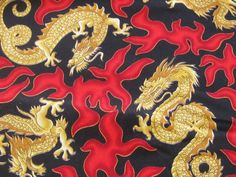 Gold Dragon Red Flames Cotton Fabric by FireflyCabin on Etsy