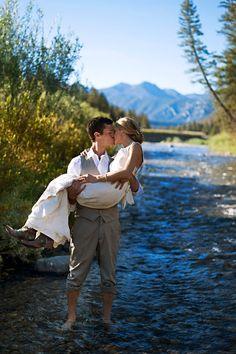 Big Sky Montana rustic wedding - bride and groom in a stream Wedding Bride, Rustic Wedding, Dream Wedding, Whimsical Wedding, Wedding Dreams, Wedding Couples, Wedding Bells, Wedding Reception, Wedding Venues
