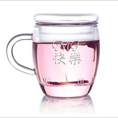 Personalized Engraved Glass Tea Mug with Inner Wall, Lid :