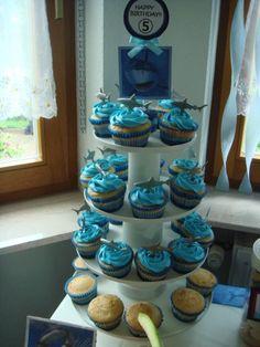 """Shark Party""  Shark Cupcake Tower"