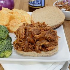 If you are looking for an easy weeknight meal, look no further than these Barbeque Pulled Chicken Sandwiches! Pulled Chicken Recipes, Pulled Chicken Sandwiches, Bbq Chicken, Bbq Pork, My Favorite Food, Favorite Recipes, Yummy Treats, Yummy Food, Slow Cooker Bbq