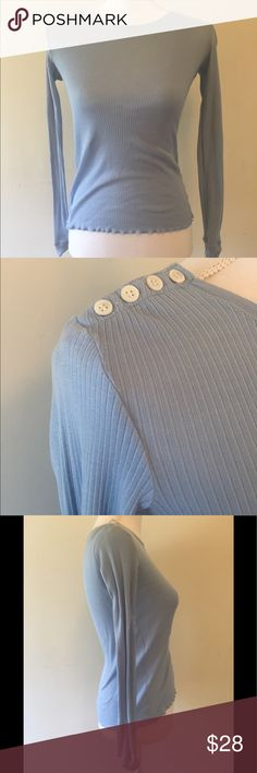 Theory baby blue ribbed long sleeve top shirt p So cute! Has white buttons on one shoulder! Barely visible whitening on one shoulder as shown in photo. Size petite Theory Tops Tees - Long Sleeve