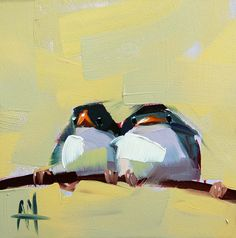 Two Barn Swallows no. 8 original bird oil by prattcreekart