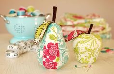 pear and apple pincushion made with Anna Griffin's Chinoiserie prints