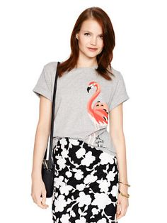 made from a fine pima cotton and printed with a pink flamingo, this relaxed-fit tee projects a fun, laid-back vibe without being the least bit sloppy. celebrate summer fridays at work by wearing it with a black pencil skirt, or try a pair of tailored shorts for a weekend look that's both cheerful and chic.