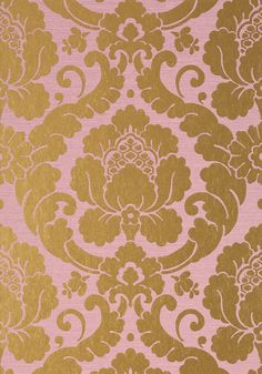 Ann French is located in Duralee in the Michigan Design Center. MARLOW, Lavender with Metallic Gold, Collection Serenade from Anna French Anna French Wallpaper, Pink And Gold Wallpaper, Damask Wallpaper, Room Wallpaper, Textures Patterns, Fabric Patterns, French Fabric, Pink Room, Cellphone Wallpaper