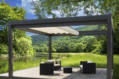 Best Modern Pergola Backyard Designs 2014 : Exterior Modern Aluminum Dark Grey Painted Pergola