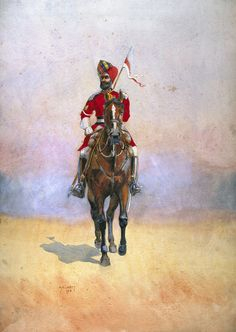Governor's Bodyguard, Bombay, Musalman Rajput, illustration for 'Armies of India' by Major G. MacMunn, published in 1910 Wall Art & Canvas Prints by Alfred Crowdy Lovett Vintage Military Uniforms, Military Art, Military History, Colonial India, British Colonial, Bengal Lancer, British Army Uniform, Around The World In 80 Days, Indian Art Paintings