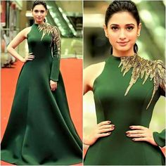 looks so regal in this leaf green Royal styled gown as she walks down the red carpet to attend CineMAa Awards 2016 Indian Gowns Dresses, Indian Outfits, Evening Dresses, Girls Dresses, Formal Dresses, Engagement Dresses, Dress Sketches, Western Dresses, Indian Designer Wear