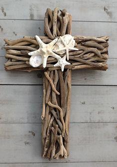 Driftwood Seashell Cross by MyHoneypickles on Etsy