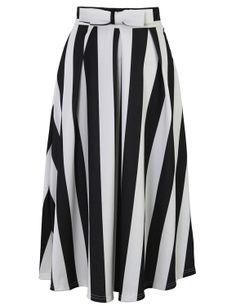 PrettyGuide Women Retro High Waist Full A Line Pleated Swing Dress Midi Skirt