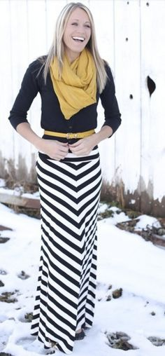 striped maxi skirt with sweater and mustard skinny belt and scarf.  | Retire The Skinny Denim & Riding Boots...5 Fresh Fall Trends www.divinestyle.co