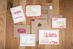 Love this bright pink wedding invitation suite