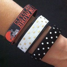 Cleveland Browns Fitbit Fashion. NEW! Fitbit Alta, Fitbit Flex, Charge and ChargeHR Elastic Bands, Set/3: Browns (CL02), White/Silver Dots (PD08), Black/Silver Dots (PD22) by BananaWindDesign on Etsy