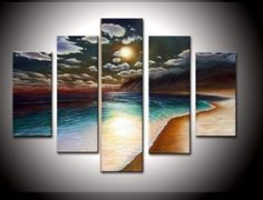 Santin Art - 100% Hand-painted Free Shipping Wood Framed on the Back Artwork the Yellow Beach High Q. Wall Decor Landscape Oil Painting on Canvas 5pcs/set Mixorde