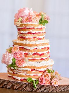 Beautiful naked cake with fresh flowers- wedding cake idea Wooden Cake Toppers, Rustic Wedding Cake Toppers, Personalized Wedding Cake Toppers, Wedding Cake Designs, Wedding Cakes, Bolos Naked Cake, Naked Cakes, Gorgeous Cakes, Pretty Cakes