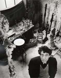 """""""Basically, I no longer work for anything but the sensation I have while working.""""  Alberto Giacometti  Photo: Robert Doisneau, 1957"""