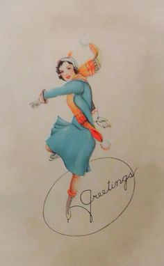 Art Deco Christmas greeting ice skating card