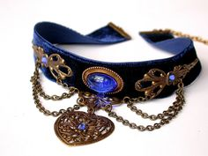 Blue Velvet Choker Pendant Blue Choker Heart by LeBoudoirNoir, Victorian Jewelry, Gothic Jewelry, Victorian Gothic, Vintage Jewelry, Victorian Vampire, Gothic Mansion, Mourning Jewelry, Gothic Clothing, Steampunk Clothing