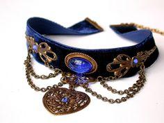 Blue Velvet Choker - Victorian Gothic Jewelry - Sapphire Rhinestones ...