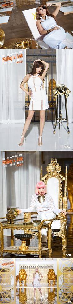 """teaser images for 2NE1's """"Falling In Love"""""""