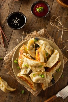 Buy Homemade Asian Pork Potstickers by on PhotoDune. Homemade Asian Pork Potstickers with Soy Sauce Dim Sum, Chinese Dumplings, Asian Pork, China Food, Food Photography, Good Food, Healthy Recipes, Healthy Food, Homemade
