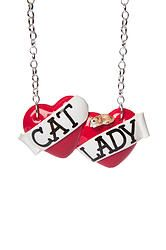 Cat Lady large double heart necklace