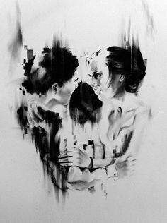 Skull  embrace by the lovers