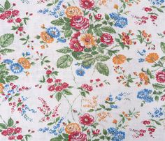 Gorgeous White Linen with Flowers Print Fabric by HuckleberryVntg, $14.00