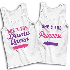 She's The Drama Queen She's The Princess Best Friends Shirts! By Awesome Best Friends Tees on Etsy! We've got hundreds of matching designs for you and your bestie, and hundreds more from great gifts to simply sarcastic! Check out all our shirts and laugh out loud!