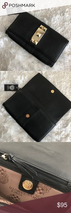 """Vince Camuto Studded Clutch NWT Vince Camuto Studded Clutch  Color: Black Size: 11.25"""" L x 6.75""""H x 2"""" D ** Includes dust bag.  See something else you like? Bundle for a private discount! Vince Camuto Bags Clutches & Wristlets"""